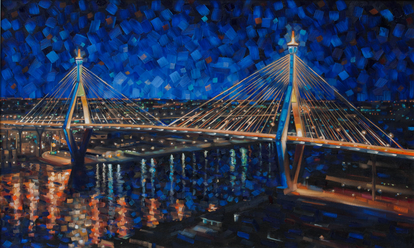 Bridge Over Chao Phraya - Hand embellished giclee on canvas limited edition 24x40