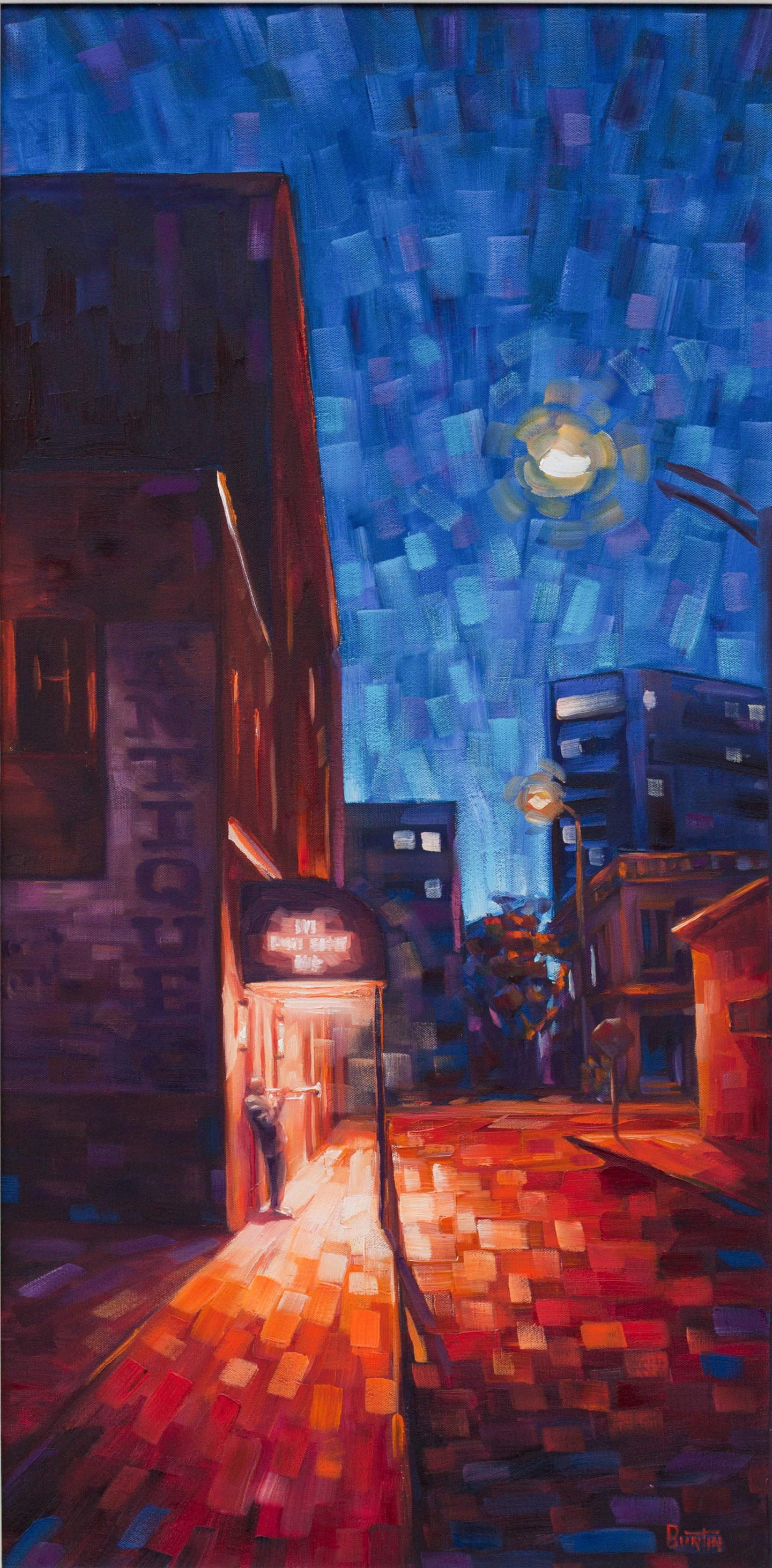 Brown Street - Original Oil on Canvas 18x36in