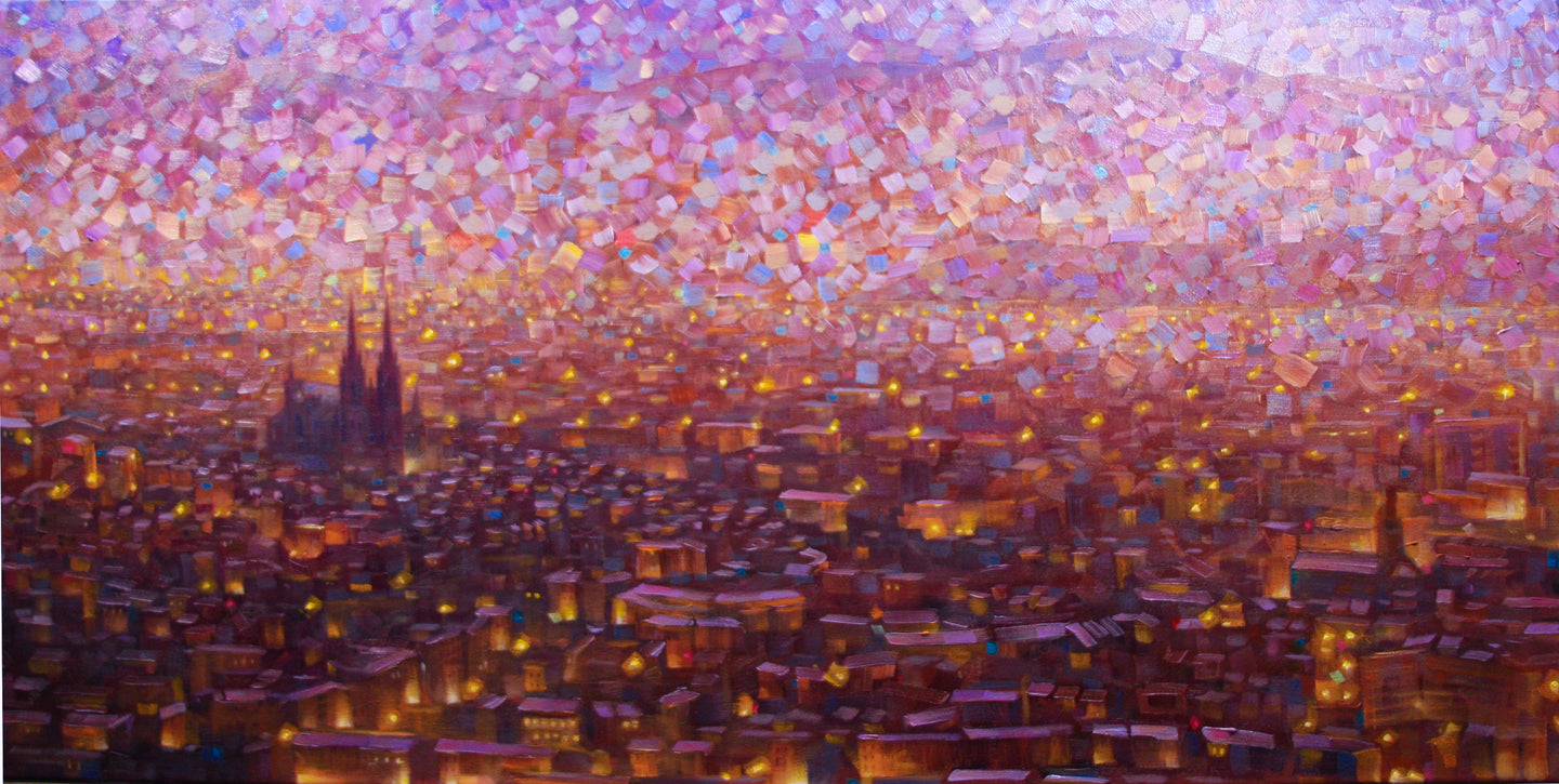 Cathedrale 1 Hand embellished giclee on canvas limited edition 18x36in