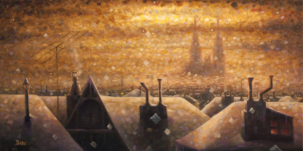 Cathedrale 4 - Original Oil on Canvas 18x36in