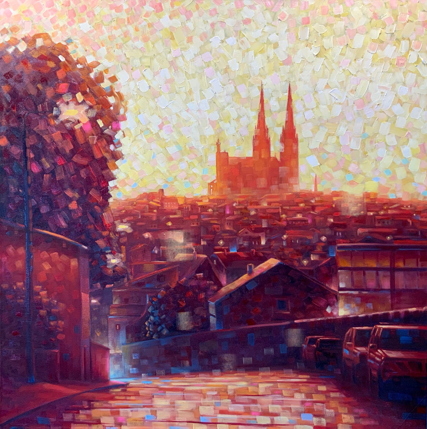 Cathedral Sunrise Limited Edition Hand-embellished 26x26in