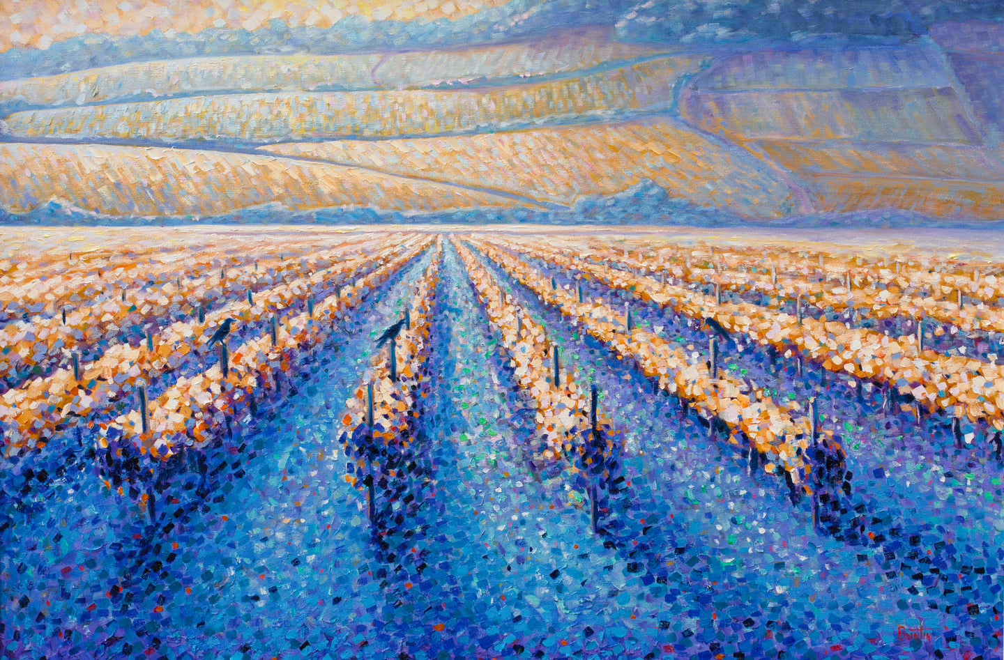 Golden Vineyards - Hand embellished giclee on canvas 24x36in