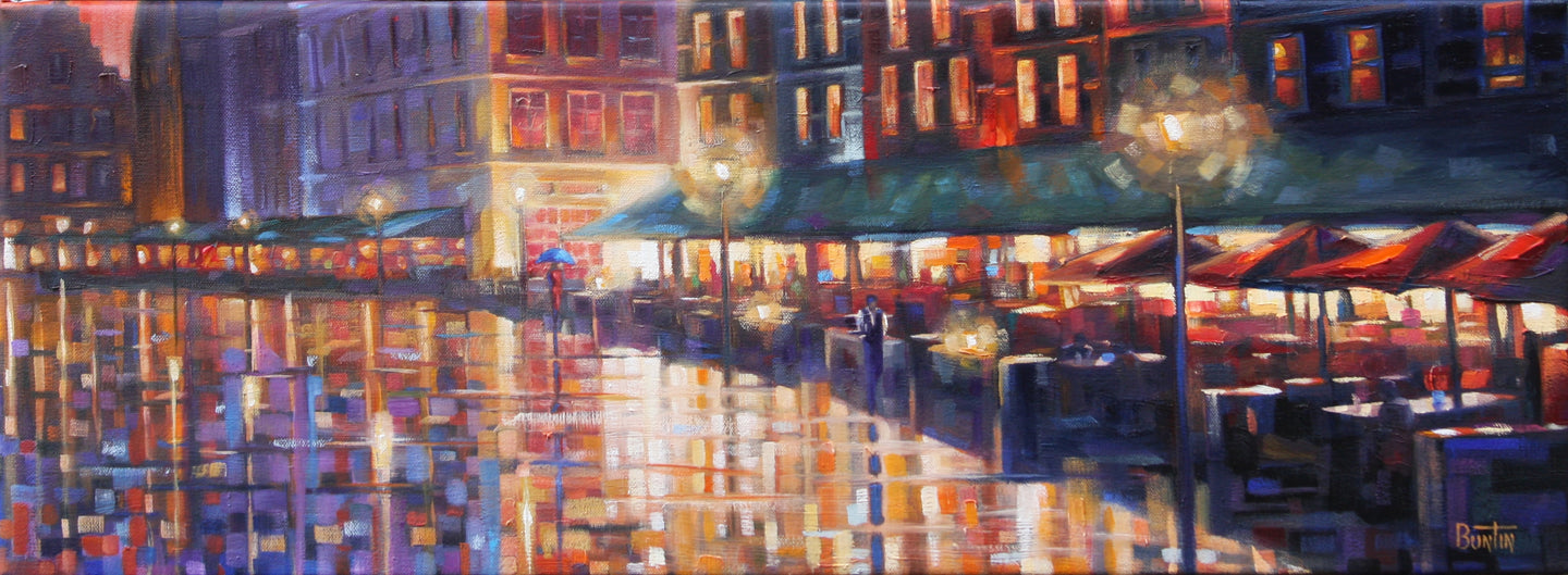 In Bruges - Hand embellished giclee on canvas limited edition 11x30