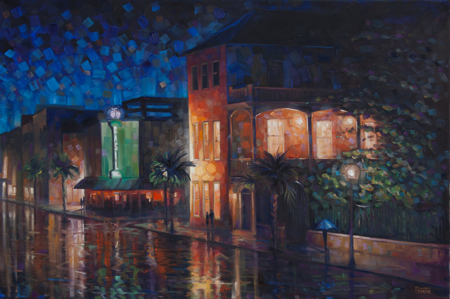 King Street Nights - Hand embellished giclee print on canvas limited edition 24x36in