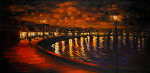 Mykonos Harbor Walk - Hand embellished giclee on canvas limited edition 24x48in