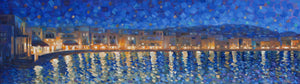 Mykonos Lights - Hand embellished giclee on canvas limited edition 10x35in