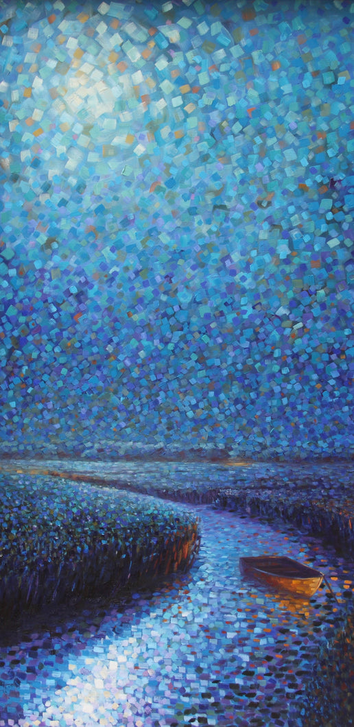 Night Marsh - Hand embellished giclee on canvas limited edition 24x48in