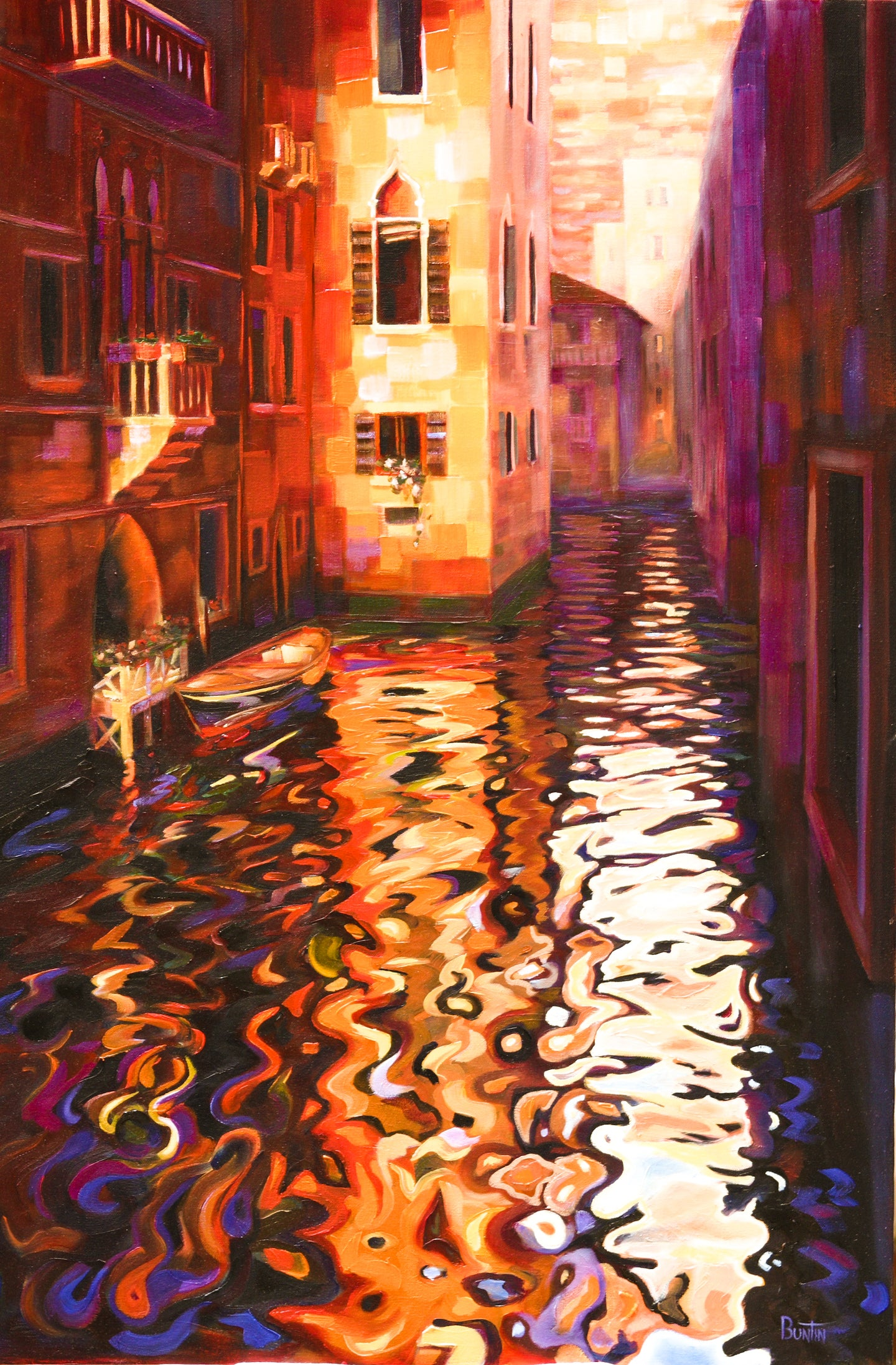 Reflections of Venice - Hand embellished giclee on canvas limited edition 24x36in