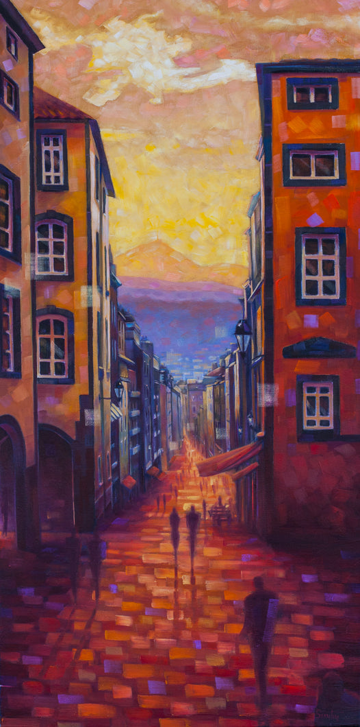 Rue des Gras - Original Oil on Canvas 18x36in