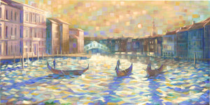 The Grand Canal - Hand embellished giclee on canvas limited edition 18x36in