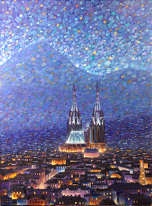 Cathedrale 3 - Hand embellished giclee on canvas limited edition 18x24in