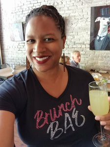 Brunch BAE Rhinestones Women's V-Neck - CCPFAC