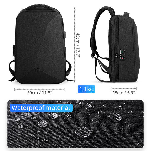 Size of Mark Ryden Cache USB Charging waterproof backpack in black.