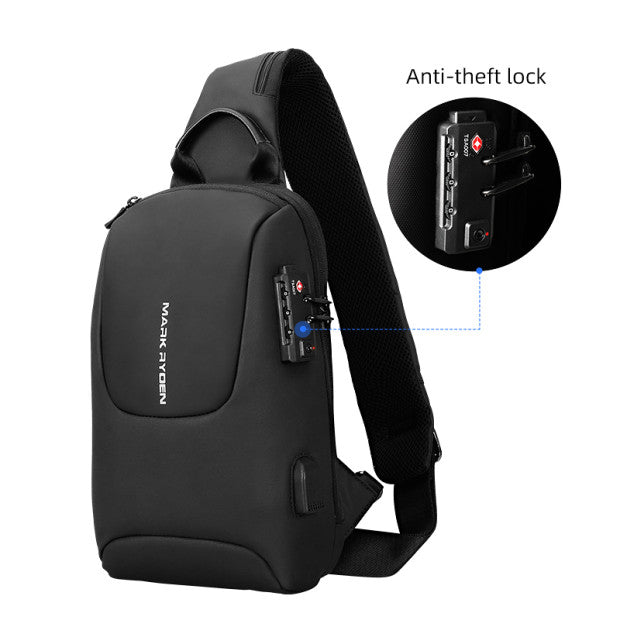 Anti-theft system on Mark Ryden Crypto usb charging waterproof sling bag in black.