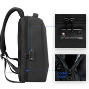 Side view of Mark Ryden Cache USB Charging backpack in black.