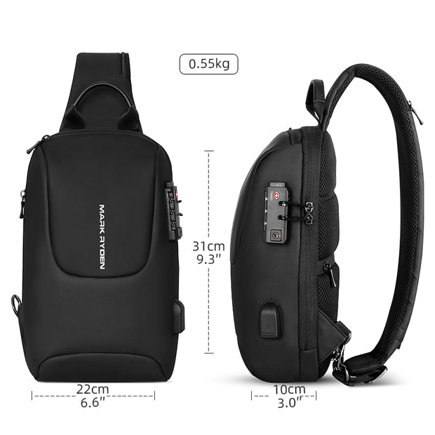 Size of Mark Ryden Crypto usb charging waterproof sling bag in black.
