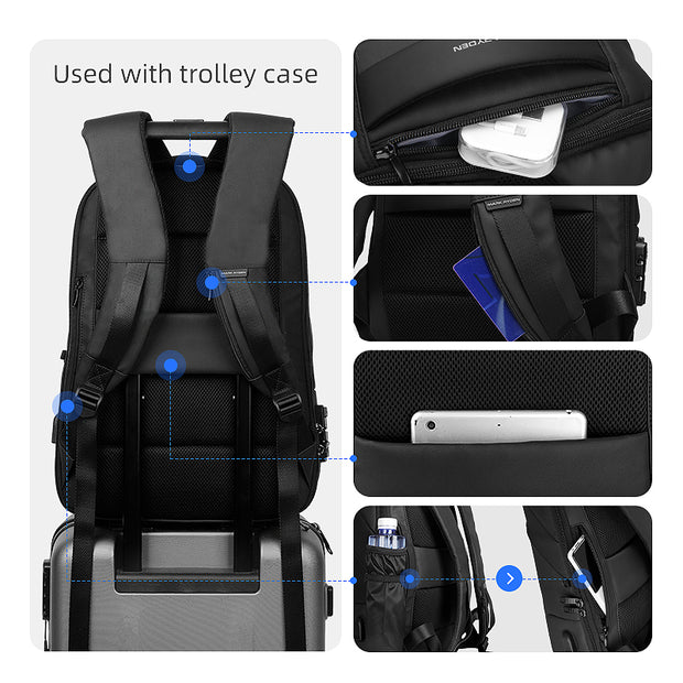 Features of Mark Ryden Limit anti-theft usb charging backpack.