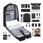 Contents of Mark Ryden Cache USB Charging backpack in black.