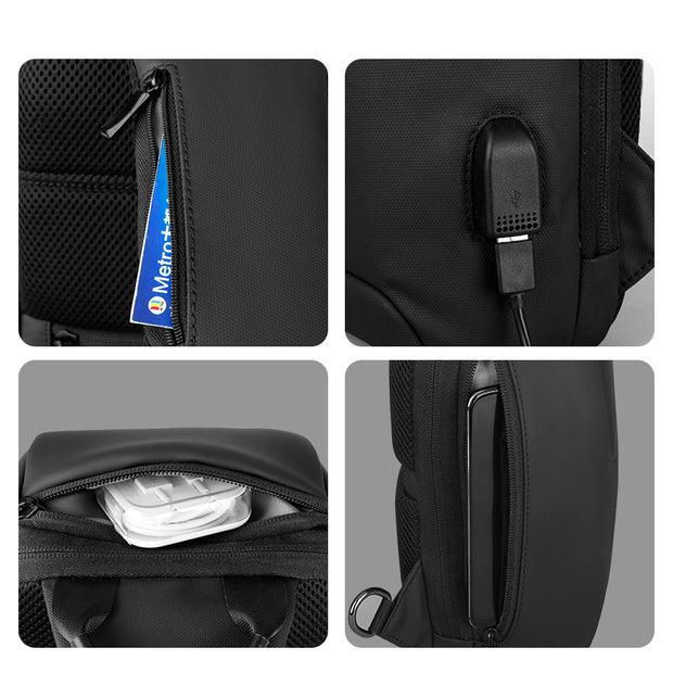 Features of Mark Ryden Crypto usb charging waterproof sling bag in black.