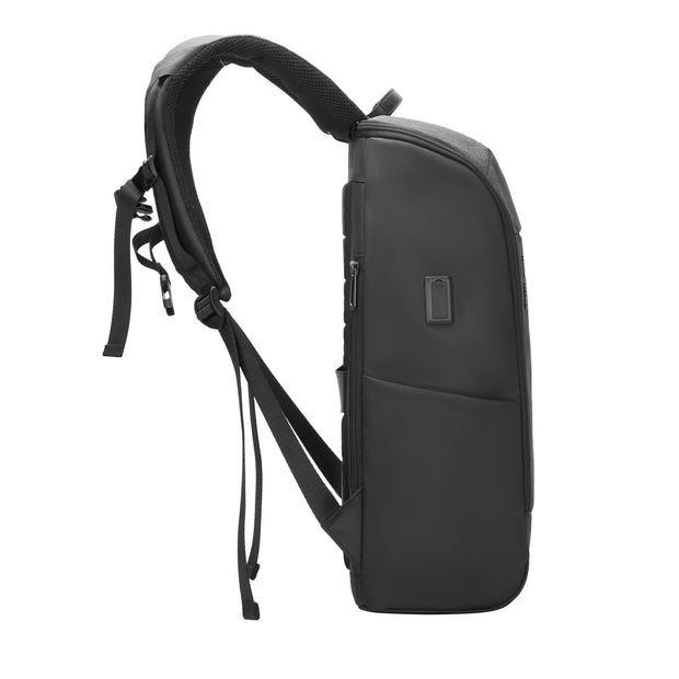 mark ryden black and dark grey usb and micro usb charging backpack with RFID blocking technology