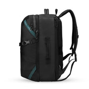 Side view of Mark Ryden high capacity waterproof USB charging travel backpack.