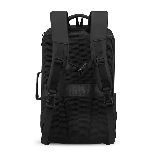 Back of Mark Ryden high capacity waterproof USB charging travel backpack.