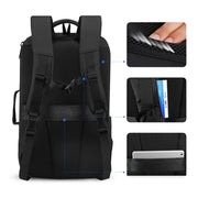 Details of Mark Ryden high capacity waterproof USB charging travel backpack.