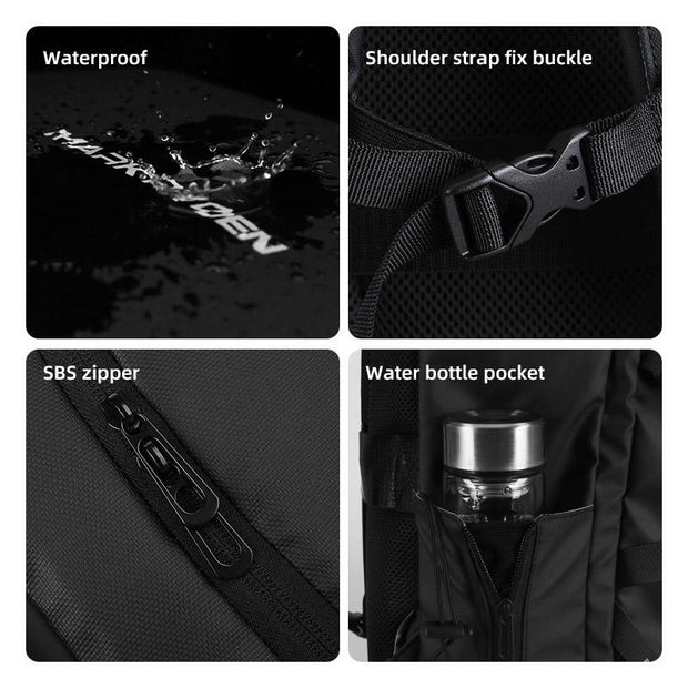 Features of Mark Ryden high capacity waterproof USB charging travel backpack.