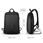 Sizing of Mark Ryden lightweight and waterproof USB charging backpack.