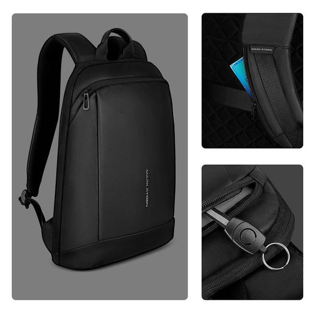 Details of Mark Ryden lightweight and waterproof USB charging backpack.