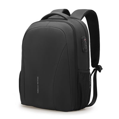 Sleek and minimal black waterproof USB charging backpack from Mark Ryden.