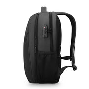 Side view of sleek and minimal black waterproof USB charging backpack from Mark Ryden.
