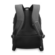 Back view of sleek and minimal black waterproof USB charging backpack from Mark Ryden.