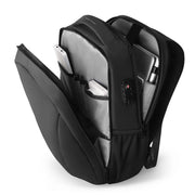 Inside view of sleek and minimal black waterproof USB charging backpack from Mark Ryden.