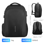 Dimensions of sleek and minimal black waterproof USB charging backpack from Mark Ryden.