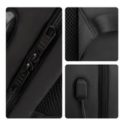 Close-up of Sleek and minimal black waterproof USB charging backpack from Mark Ryden.