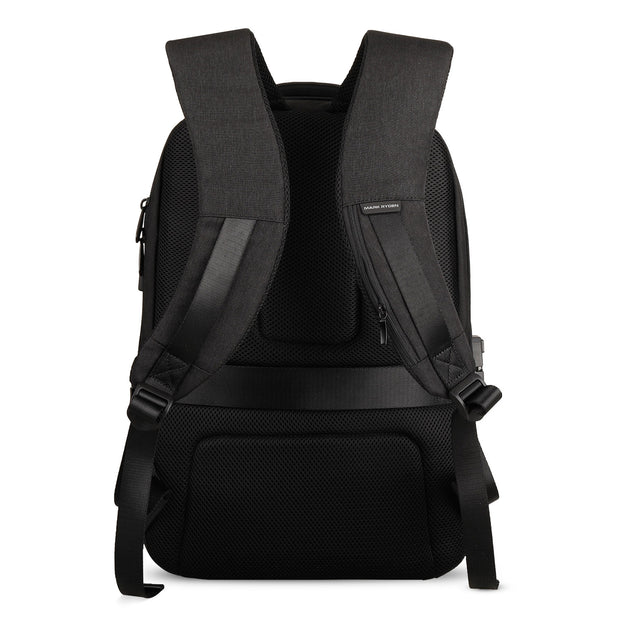 Back view of Mark Ryden Cache USB Charging backpack in black.