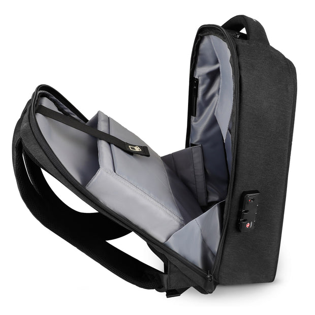 Open view of Mark Ryden Cache USB Charging backpack in black.