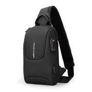 Mark Ryden Crypto usb charging waterproof sling bag in black.