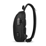 Side view of Mark Ryden Crypto usb charging waterproof sling bag in black with anti-theft system.