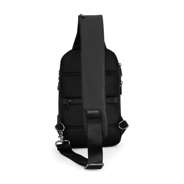 Back of Mark Ryden Crypto usb charging waterproof sling bag in black.