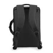 Back view of Mark Ryden minimal black USB charging travel shoulder bag.