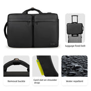 Details of Mark Ryden minimal black USB charging travel shoulder bag.