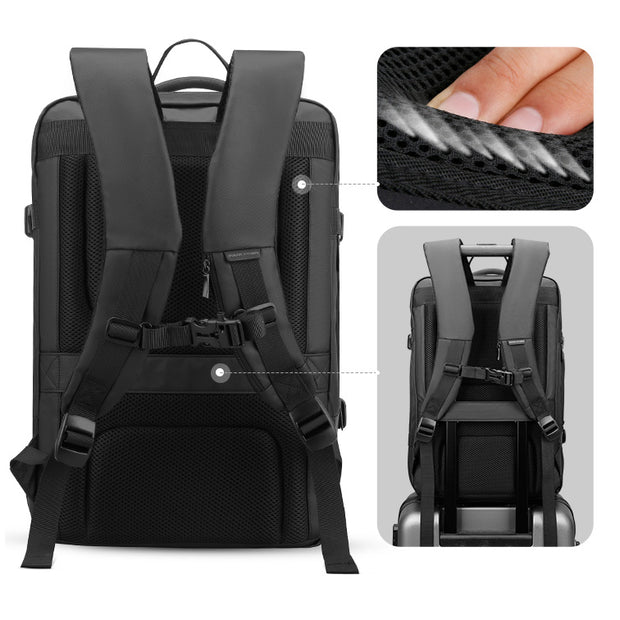 Mark Ryden USB charging backpack with ergonomic straps.