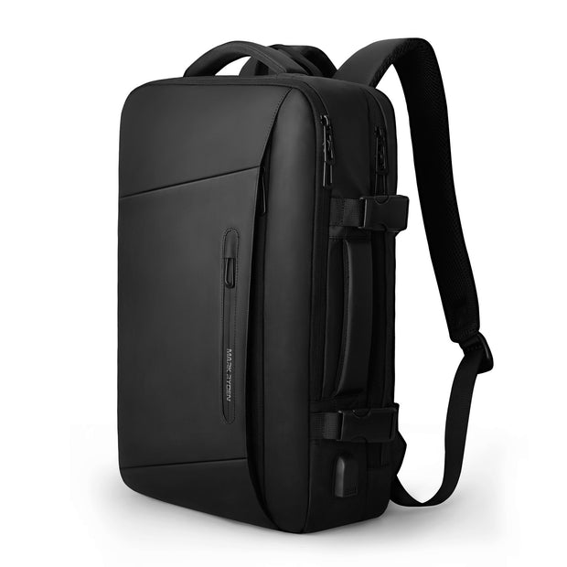 Mark Ryden minimal black USB Charging backpack.