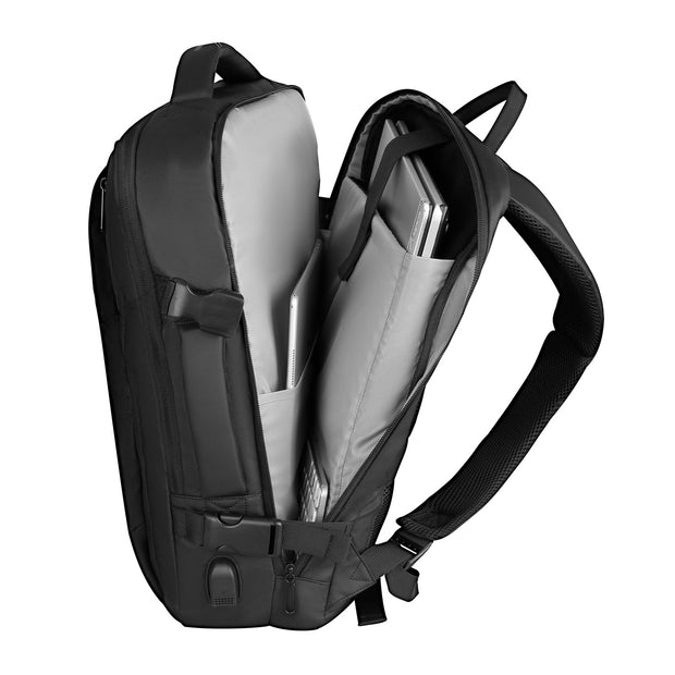 Inside of Mark Ryden minimal black USB Charging backpack.