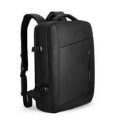 Mark Ryden minimal black USB Charging waterproof backpack.