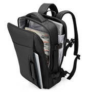 Mark Ryden minimal black USB Charging backpack with zippers open showing two compartments