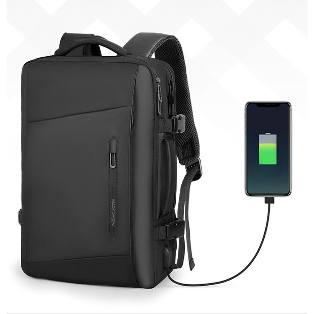 Mark Ryden minimal black waterproof backpack charging iPhone.