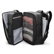 Inside of Mark Ryden expandable travel backpack - INFINITY XL.